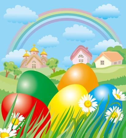 arbol de pascua: Paisaje de Pascua Vectores