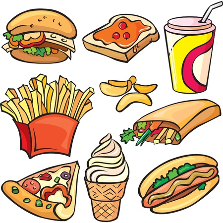 stuffing: Fast food icon set
