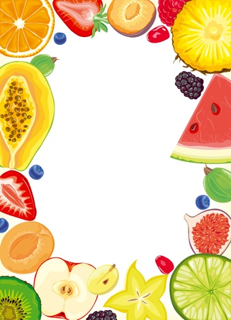 carambola: Fruit and Berries frame Illustration