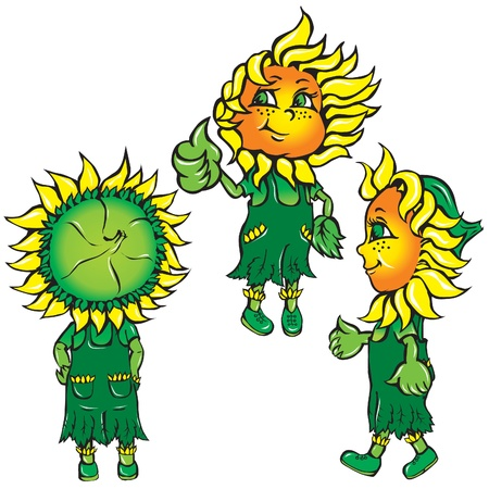 show plant: funny stylized sunflowers in the green