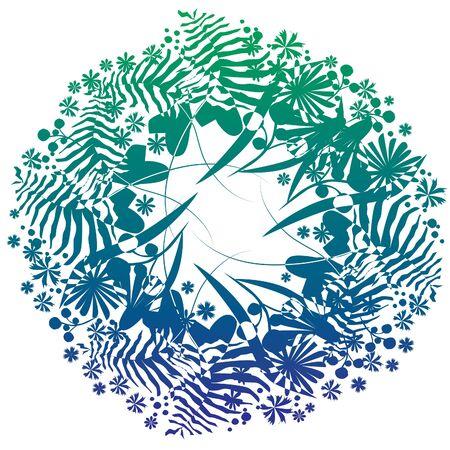 helechos: Corona de hierba con flores