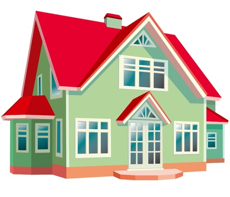 model home: House with red roof on white background Illustration