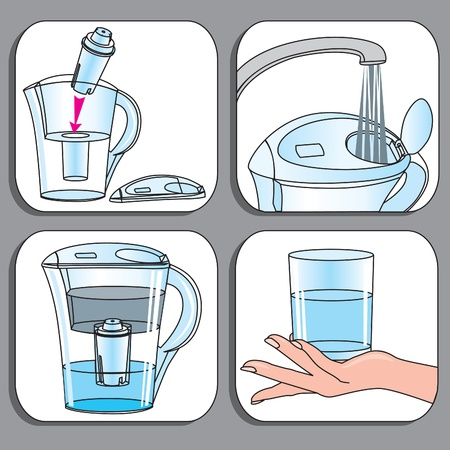 water jet: Icons used for filter-jugs set