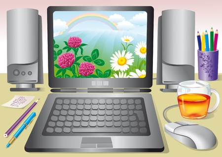 speakers desk: Illustration of the workplace