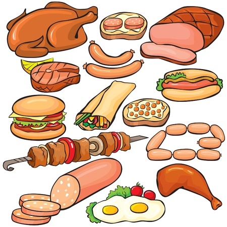 Meat products icon set Vector
