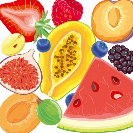 Mix berries and tropical fruits Vector