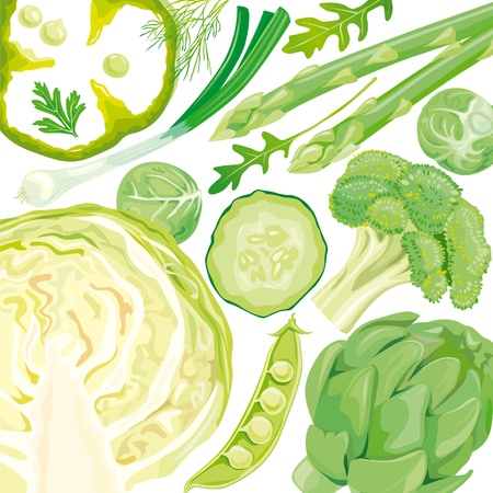 root vegetables: Mix of green vegetables Illustration