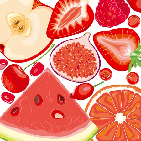 Mix red fruits and berries Stock Vector - 10032807