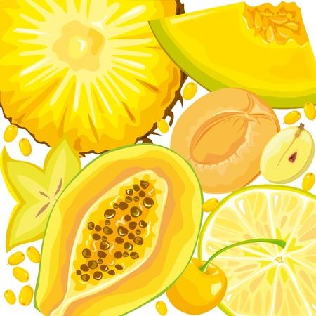 papaya: Mix yellow fruits and berries