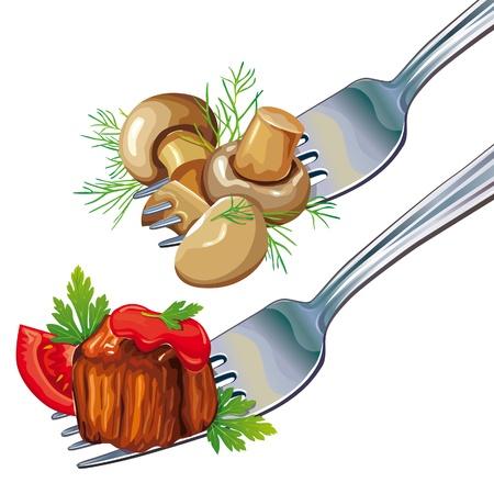 pietanza: Funghi e carne su forcella Vettoriali