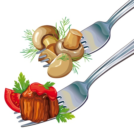 mushroom illustration: Mushrooms and meat on fork Illustration