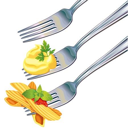 으깬: 포크에 파스타와 으깬 감자 일러스트