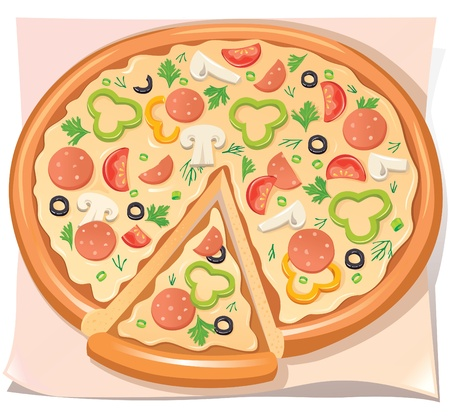 Pizza with salami, cheese and vegetables Stock Vector - 10032771