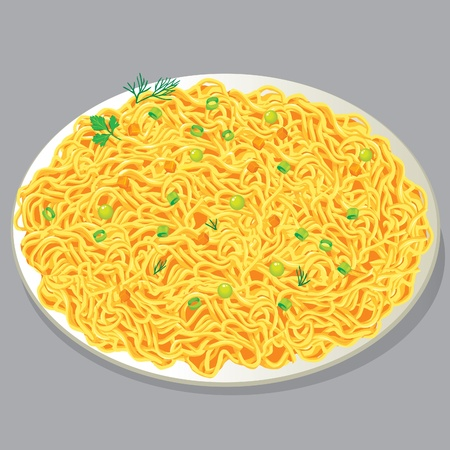 onion slice: Plate of pasta with vegetables
