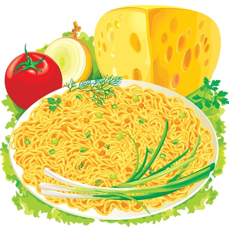 macaroni: Plate of spaghetti with vegetables