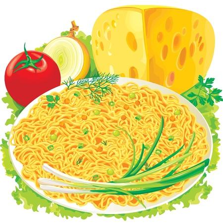 macarrones: Plato de espaguetis con verduras Vectores
