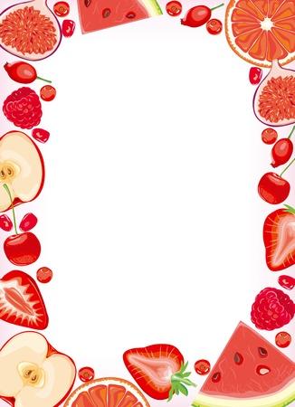 cranberry illustration: Red fruits and berries frame