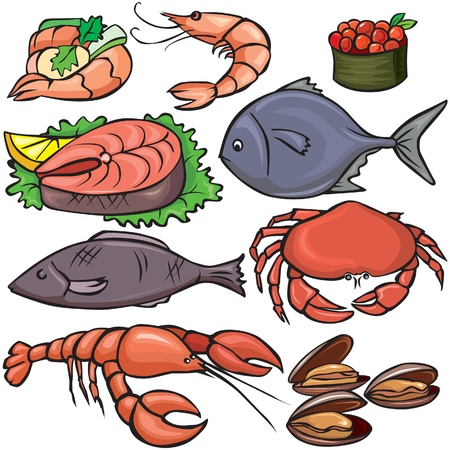 Conjunto de iconos de mariscos Ilustración de vector