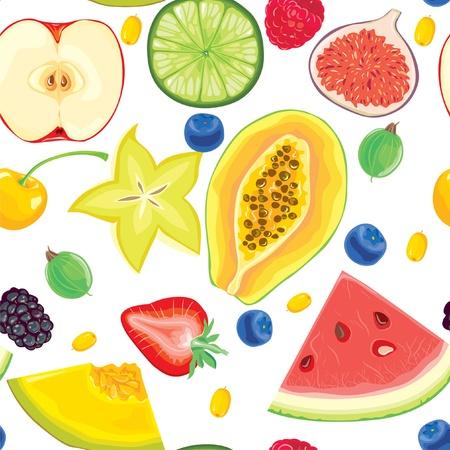 papaya: Seamless pattern of fruit and berries