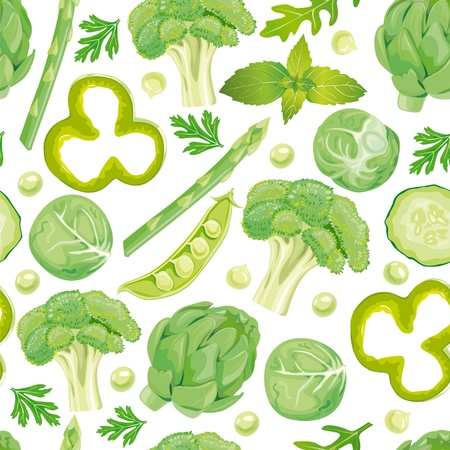 cucumber salad: Seamless pattern of green vegetables