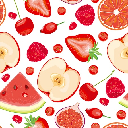 Seamless pattern of red fruits and berries Vector