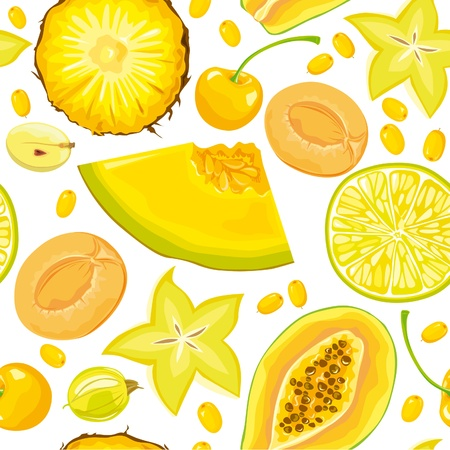 melon fruit: Seamless pattern of yellow fruits and berries Illustration