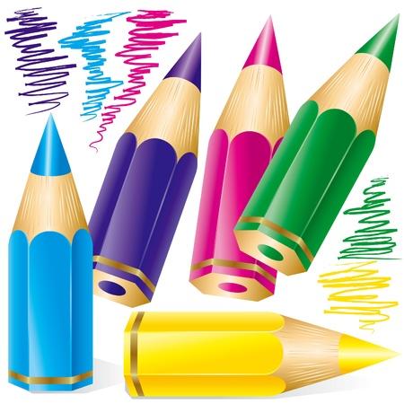 disegni a matita: Set di matite colorate Vettoriali