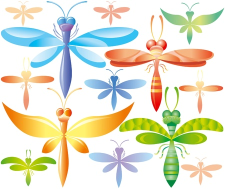 antenna dragonfly: Set of colorful dragonflies
