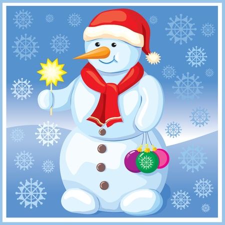 Snowman with Christmas toys Vector