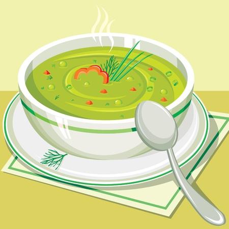 soup spoon: Split pea soup