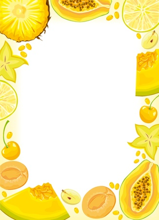 melon fruit: Yellow fruits and berries frame