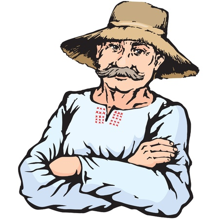 Village farmer man in straw hat