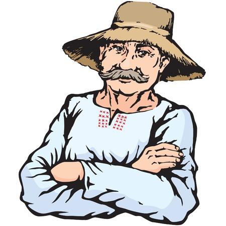 old farm: Village farmer man in straw hat