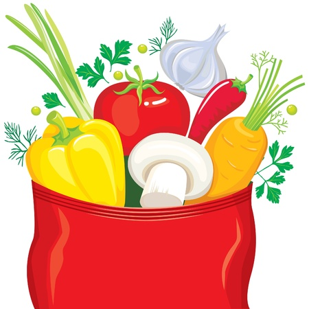 Vegetables fly out of the package seasonings Stock Vector - 10673665
