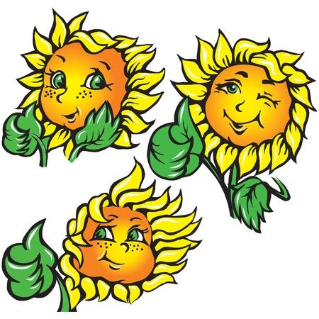 vector funny sunflower shows ok Stock Vector - 10673652