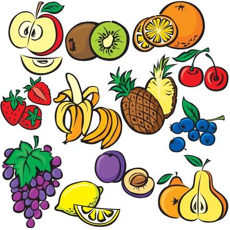 pineapples: frutas vector conjunto de iconos