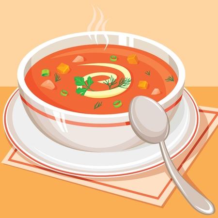 sopa: Tomate sopa de verduras Vectores