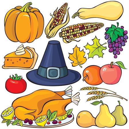 포도 수확: 추수 감사절 아이콘 세트