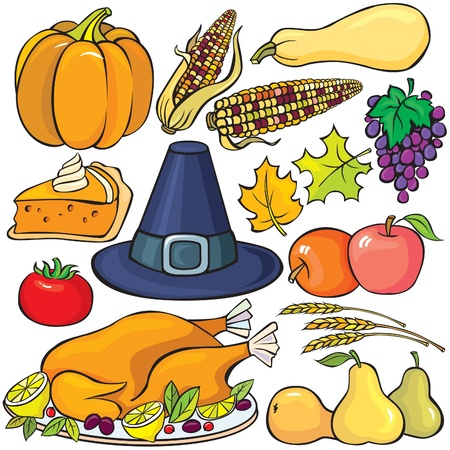 fall harvest: Thanksgiving Day Icon Set Illustration