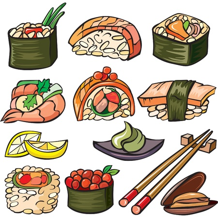 Sushi, seafood icon set Stock Vector - 10673667