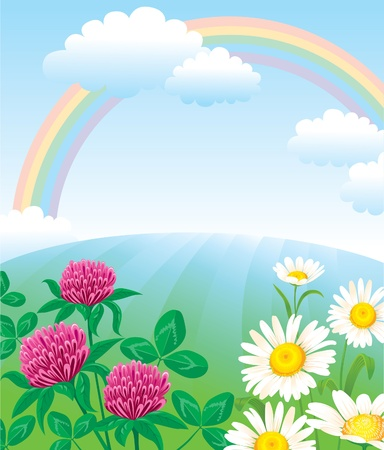 Summer landscape with rainbow Vector