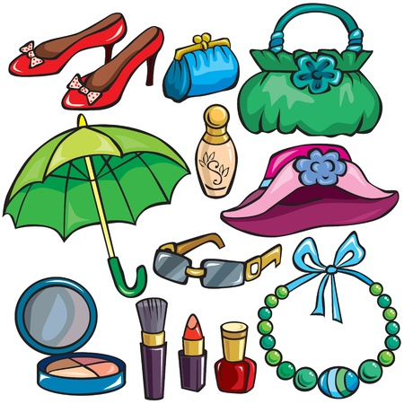Women Accessories icon set isolated on white Stock Vector - 10828892