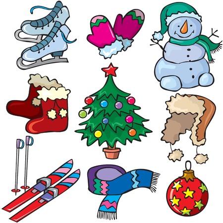 botas de navidad: Invierno conjunto de iconos Vectores