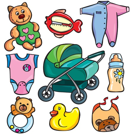 Newborn accessories icons set Vector