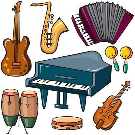 instruments: Musical instruments icons set