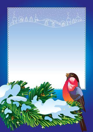 bullfinch: Christmas frame with bullfinch Illustration