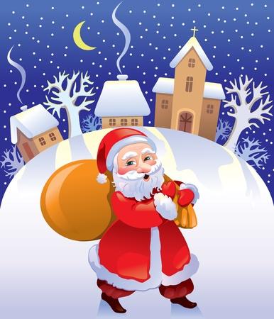 Christmas Santa with bag of gifts Vector