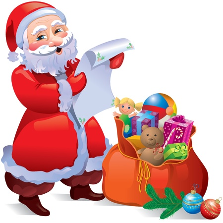 letter from santa: Santa with gifts