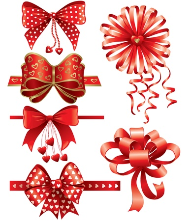 gold bow: Red bows with hearts