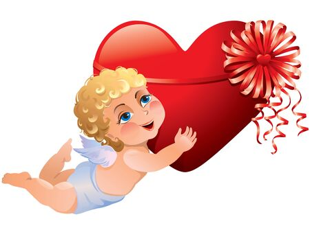 Cupid brings heart Stock Vector - 11932432